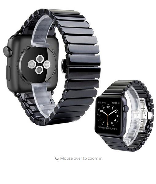 SOOSUU Black White Glossy Ceramic Watch Band Strap for Apple Watch iwatch 38/42mm Link Bracelet Butterfly Buckle