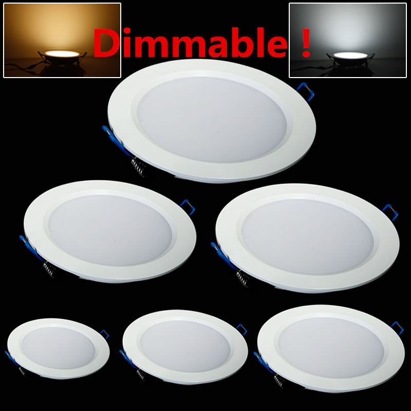 LED Downlight Dimmable 4W 6W 9W 12W 15W 25W Runda Ultrathin SMD 2835 Effektdrivrutin Takpanellampor Kall varmvit