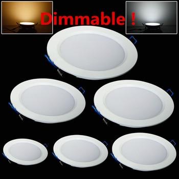 LED Downlight regulable 4W 6W 9W 12W 15W 25W redondo ultradelgado SMD 2835 Power drivers Panel de techo luces blanco cálido frío