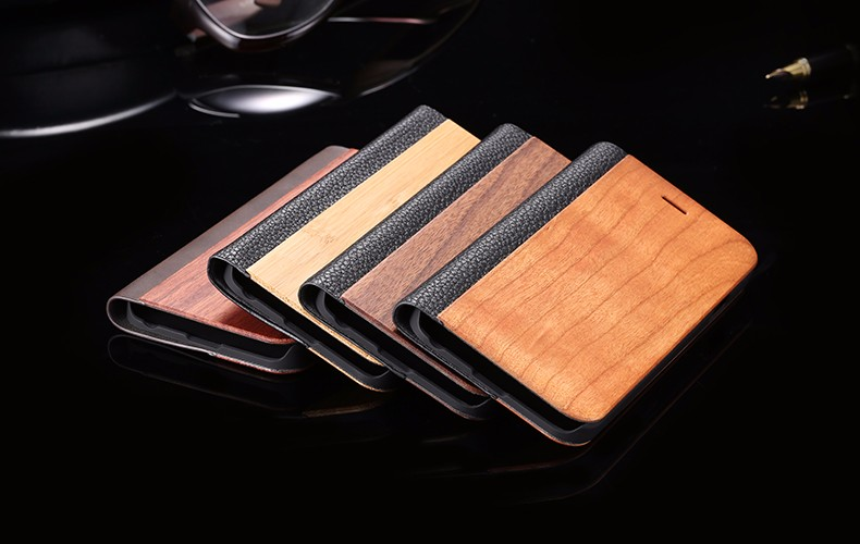 Vintage Genuine Bamboo Wood Flip Leathe Case For iPhone 6 6S Plus Real Rosewood Wooden Wallet Cover For iPhone 7 7 Plus Card Slot (23)