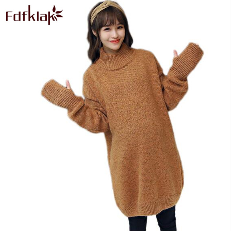 Fdfklak Pregnant Sweater Loose Long Pullovers Sweater Dress Maternity Autumn Winter Knitted Sweaters For Pregnant Women F40