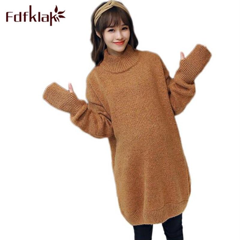 Fdfklak chandail enceinte lâche longs pulls pull robe maternité automne hiver chandails tricotés pour les femmes enceintes F40