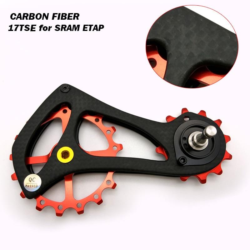 FETESNICE 17T Carbon Fiber Ceramic Bearing Jockey Pulley Wheel Set Rear Derailleur Guide Wheel