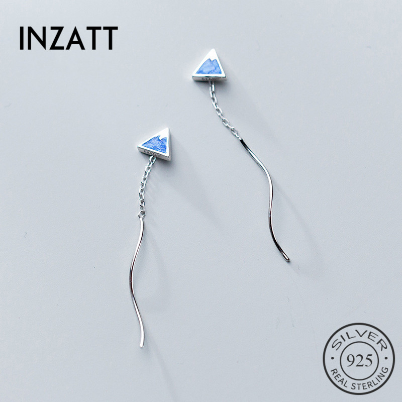 INZATT Real 925 Sterling Silver Bohemia Blue Enamel Triangle Elegant Tassel Dangle Drop Earrings For Women Party Fashion Jewelry