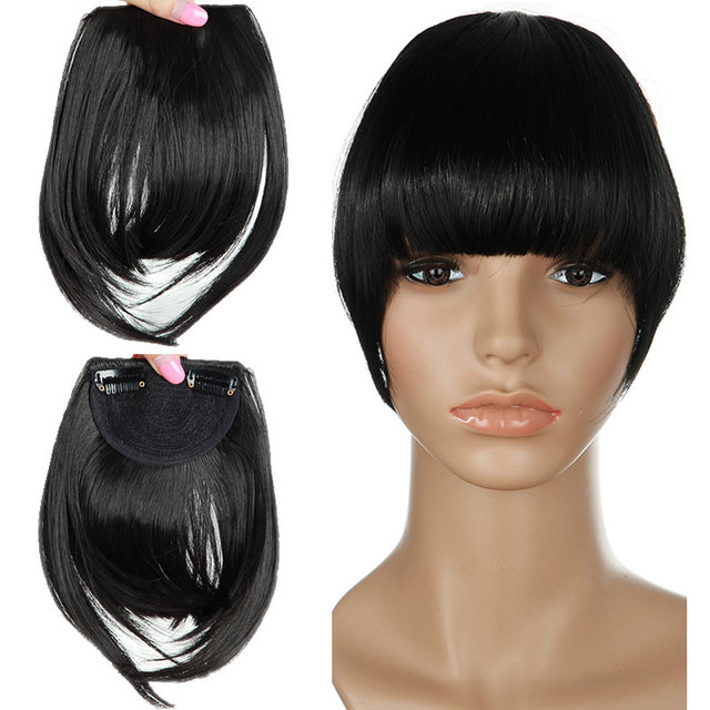 SNOILITE Women Synthetic Clip In blunt Bangs Fringe Hair Extensions Front  on Brown Black Blonde One piece only Hairpiece 47ef4160ff