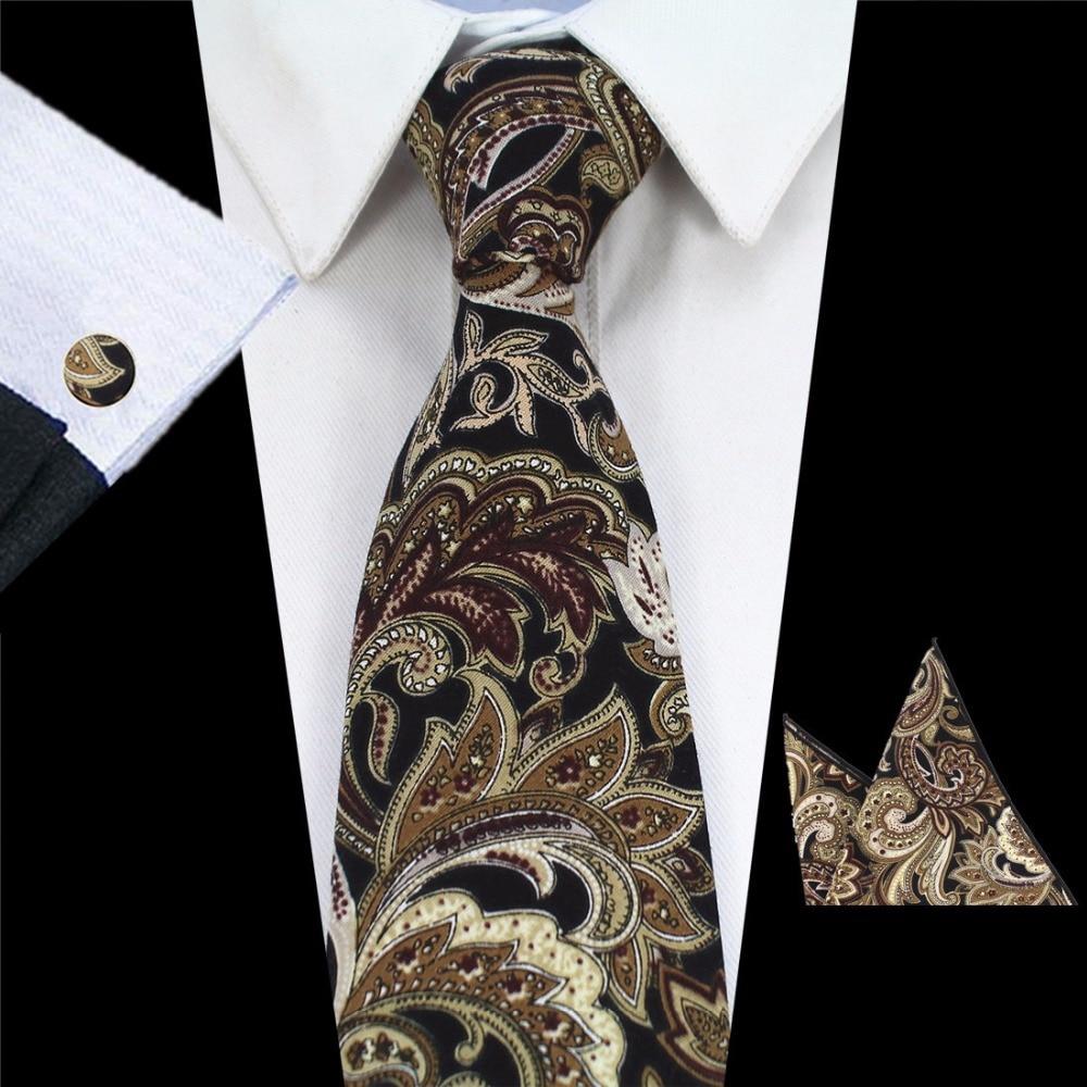 GUSLESON Mens Tie Mens Tie Pambuku Qafa Tie Xhepa Cuff Cufflinks 8cm Classic Lule Paisley Lidhje për Meshkuj Kostume Corbatas