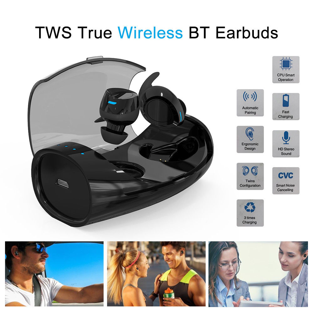Blueskysea S60 TWS True Sport Headset Earphone Wireless Bluetooth Earbuds Stereo In-Ear W/ Charging Case For IOS Android Phone