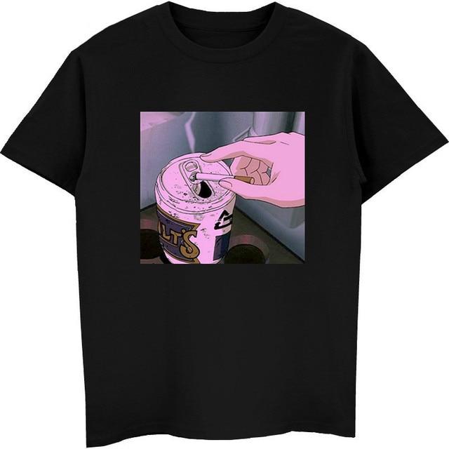 Traurig Anime Vaporwave T-Shirt Ästhetischen Japan Otaku T-Shirt Männlichen Casual T Shirts 100% Baumwolle Kurzarm Tees