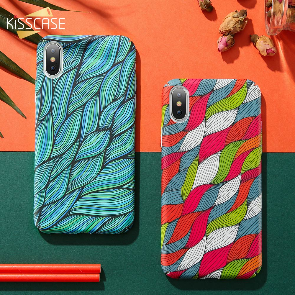 KISSCASE-Colorful-Vintage-Woven-Pattern-Case-For-iPhone-7-8-Plus-Hand-painted-Wavy-Phone-Case