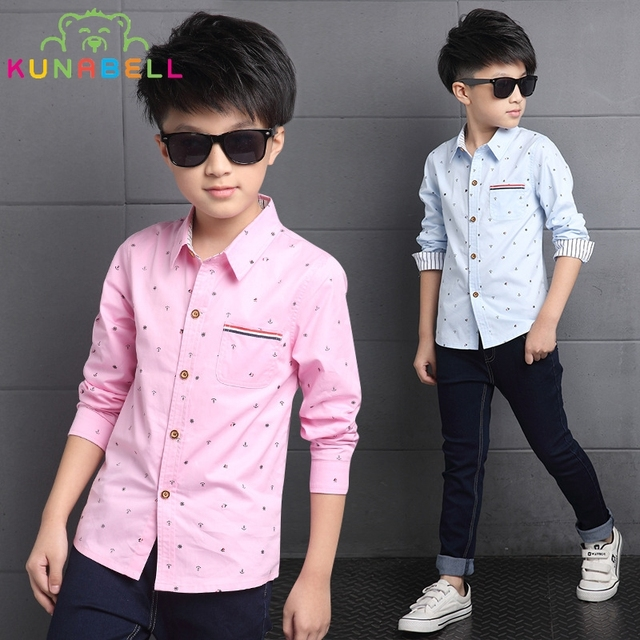 Children Tide Shirts For Boys 4-15Y Cotton Kids Boy Blouses Breathable Shirt Cartoon Gentleman Clothes 2017 Spring Autumn B028