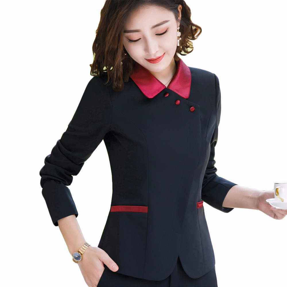 New Winter 2018 Black Pale Blue Women Blazer with Button Office Lady Coat Business Formal Work Wear Jackets