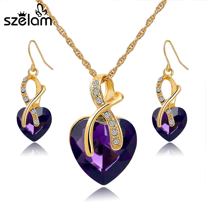 SZELAM 2016 Crystal Heart Necklace Earrings Jewellery Set for ...