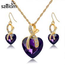 Crystal Heart Necklace Earrings Jewelry Set for Women Bridal Wedding Accessories SET140044