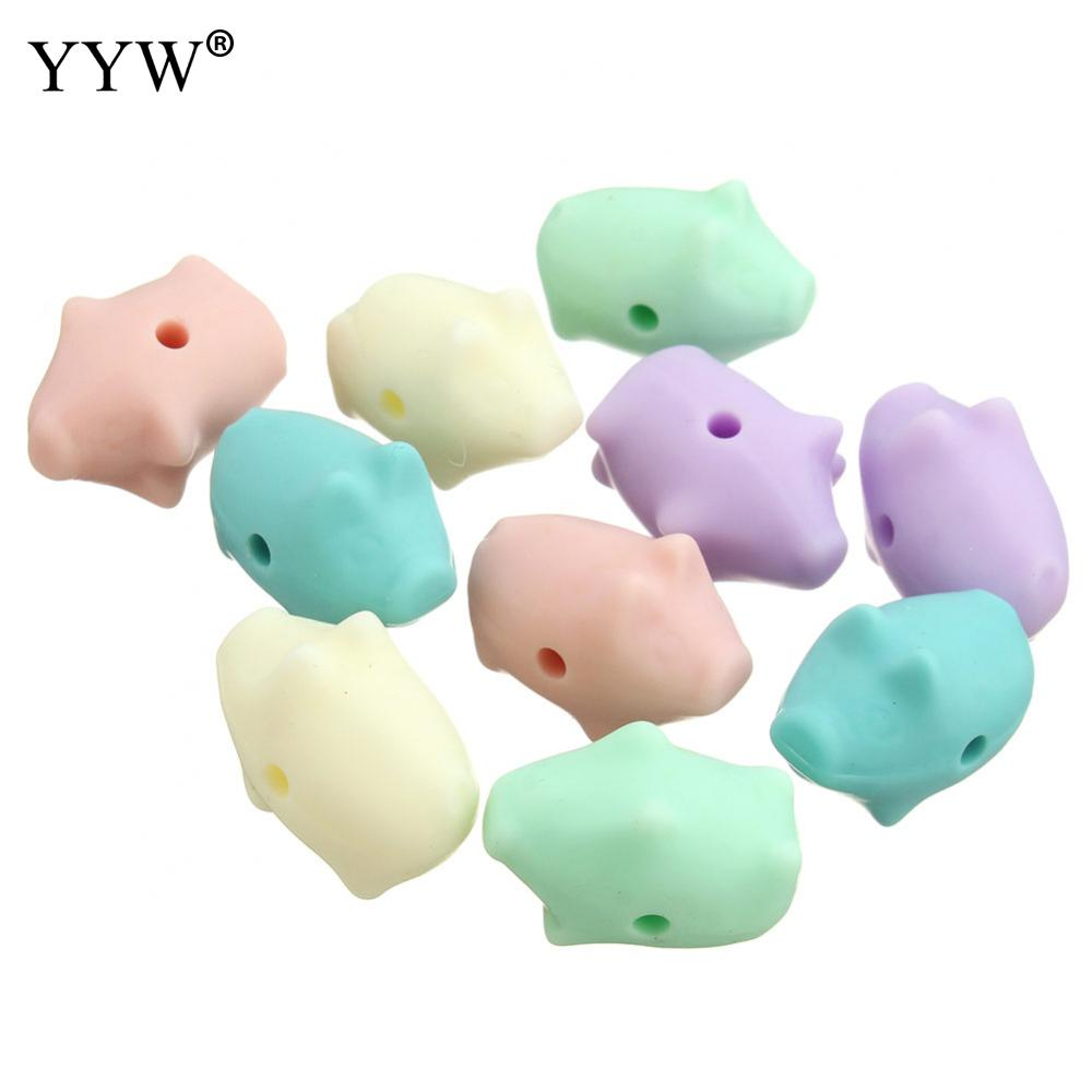 Obliging 100pc/lot Silicon Baby Chew Beads Pig Baby Teether Silicone Teething Necklace Chew Dentistry Nursery Toys Free Jewelry & Accessories Beads