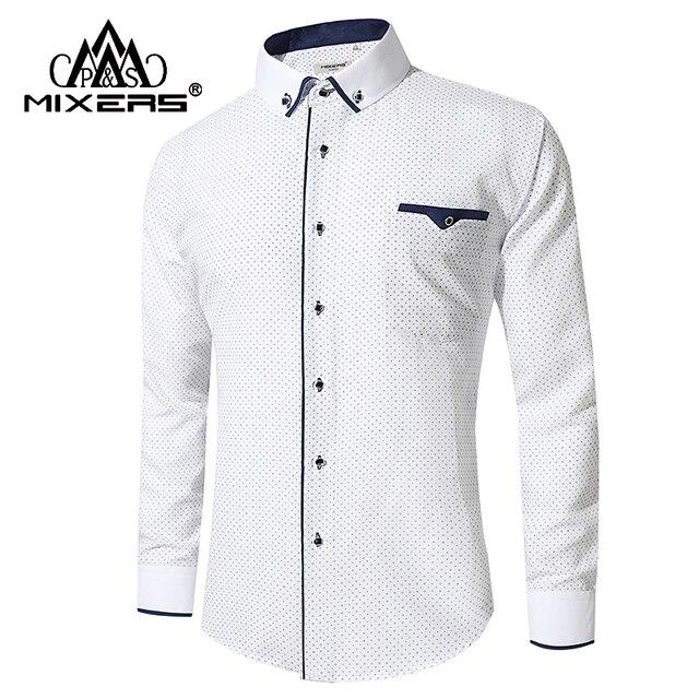 Новинка 2018 белая печатная рубашка мужская с длинным рукавом Бизнес Повседневная рубашка мужская сорочка офиса уютная одежда