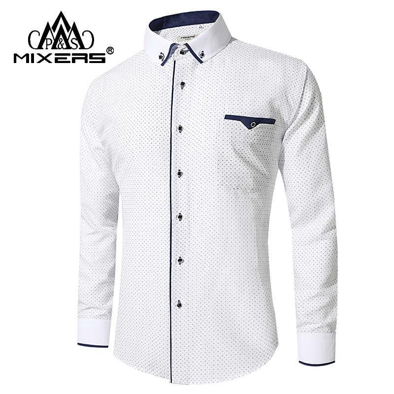 9c7a8e743d0 2018 Новые поступления печатная рубашка мужская с длинным рукавом Бизнес  Повседневная рубашка мужская сорочка офиса уютная