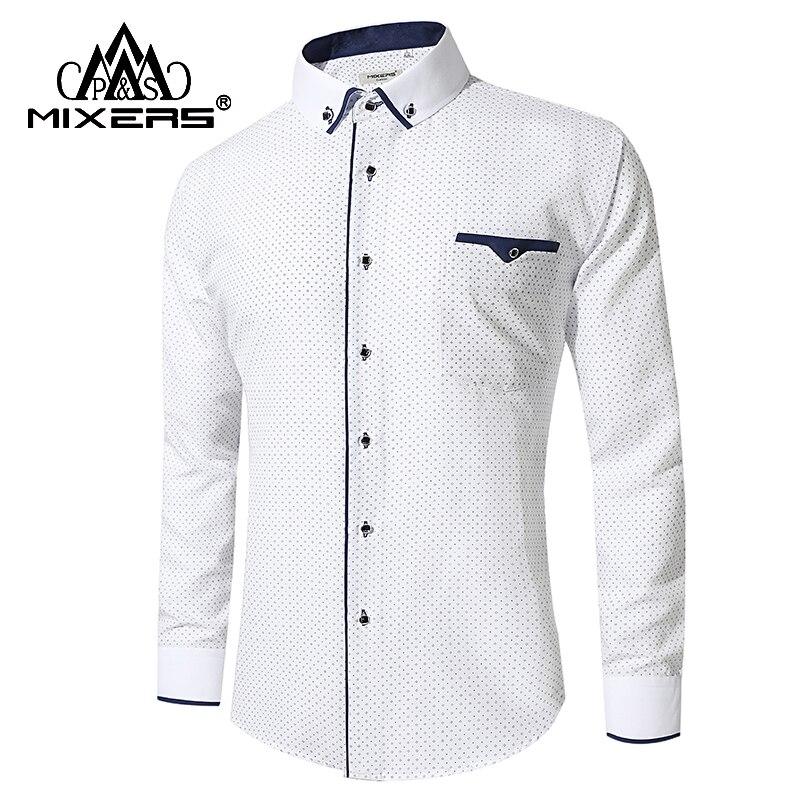Nueva llegada 2018 blanco Camisa de manga larga Casual de negocios de camisas de ropa cómoda Camisa Masculina