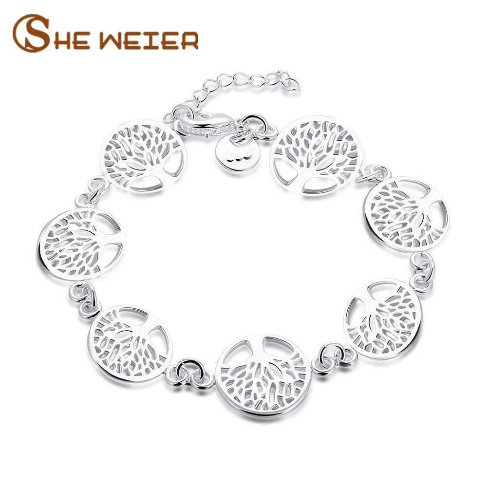 SHE WEIER Friendship Bracelets & Bangles for Women Charms Bracelet for Girls Silver Femme Chain Braslet Bizuteria jewellery