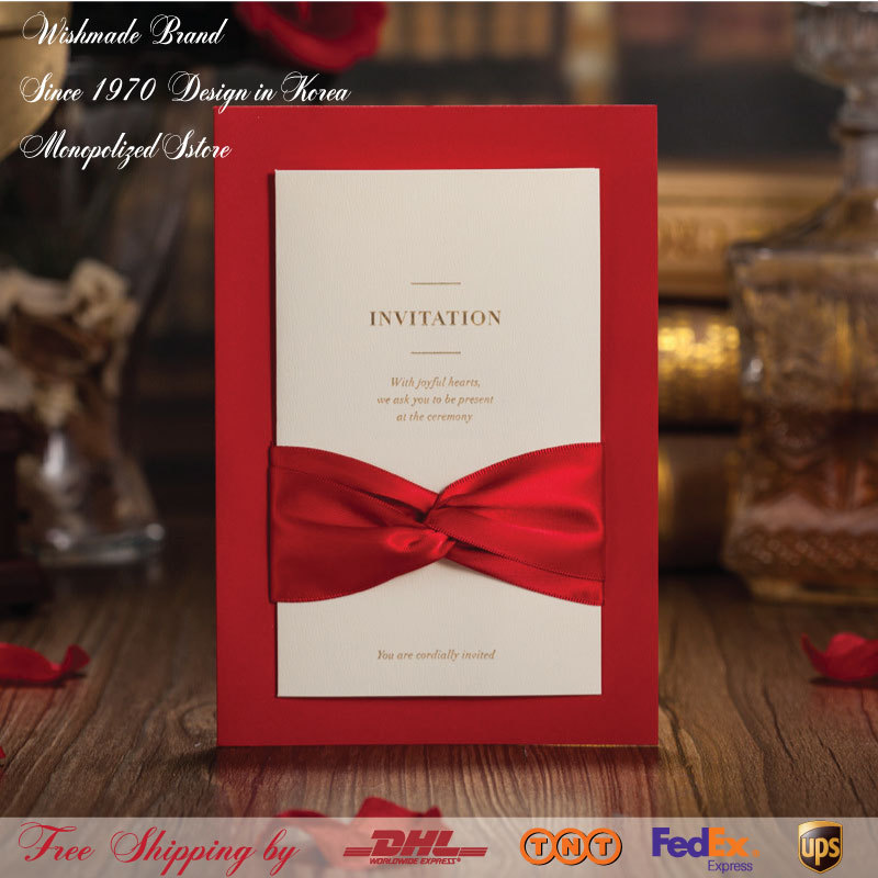 Wedding Invitations Business: Bronzing Red Wedding Invitations With Ribbon Printable