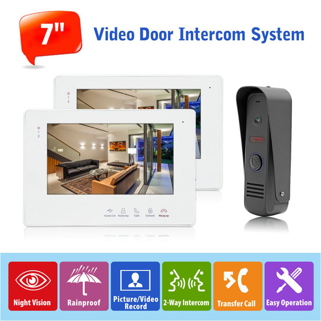 """7"""" Touch Button Color Monitor Video Door Intercom System Video Doorbell with IP65 Rainproof  Night Vision Camera, 1 to 2"""