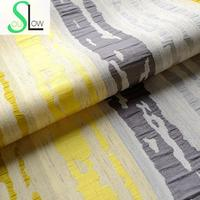 Slow Soul Blue Yellow Orange Cotton And Linen Curtain Jacquard Decorative Geometric Curtains For Living Room Kitchen Bedroom