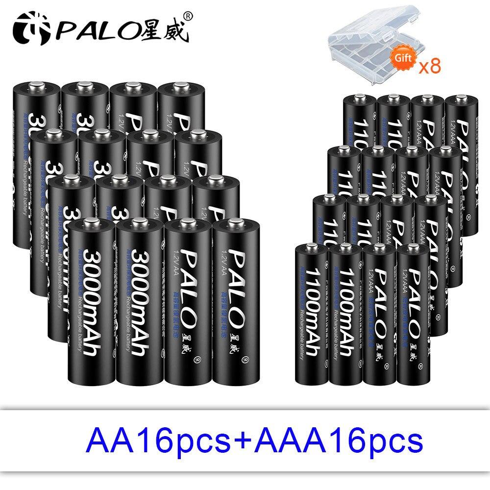 PALO 16 шт. 1,2 в 3000 мАч Высокая емкость AA батарея + 16 шт. 1100 мАч батареи AAA 3A аккумуляторная батарея с батарейным отсеком