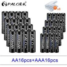 PALO 16pcs 1.2V 3000mAh High capacity AA battery+16Pcs 1100mah Batteries AAA 3A Rechargeable Battery With storage box
