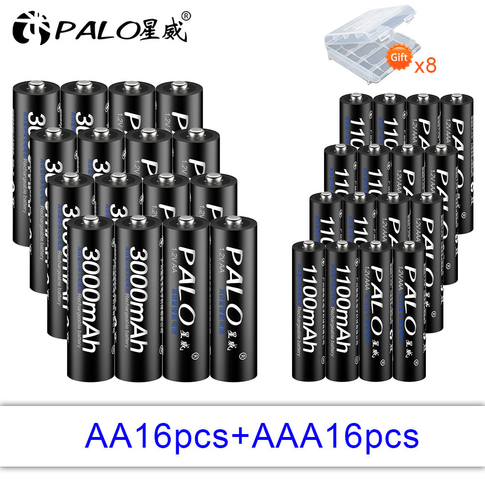 PALO 16pcs 1.2V 3000mAh High capacity AA battery+16Pcs 1100mah Batteries AAA 3A Rechargeable Battery With Battery storage box(China)