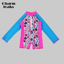 a574827f18 Charmleaks One-Piece Baby Girl's Swimwear Kids Rashguard Swimsuit Child  Long Sleeve Rash Guard UPF