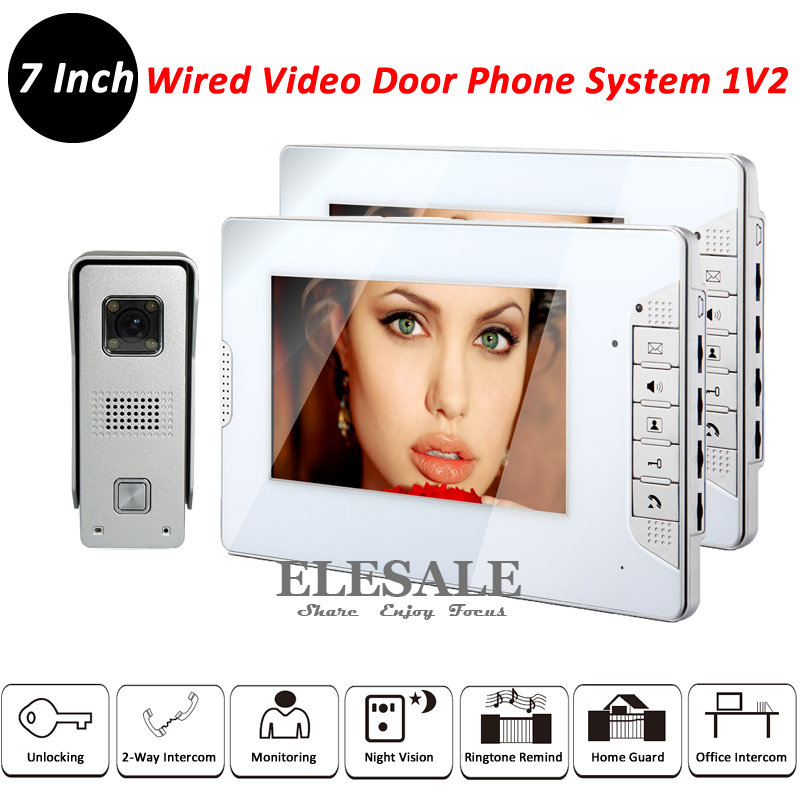 New Wired Video Intercom System Doorphone Video Doorbell Rainproof Camera 2x 7 Monitors For Home Intercom And Security 2017 new wired video doorbell intercom doorphone for apartment security camera infrared night vision monitoring 1v4 freeshipping