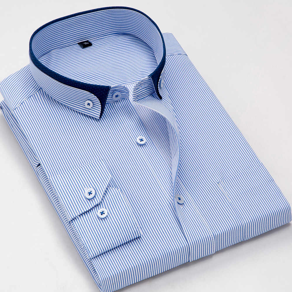 古典的なシャツ男性新ルース長袖縦ストライプカミーサスリムフィットビジネスフォーマルドレス男性シャツブランドパーティー服