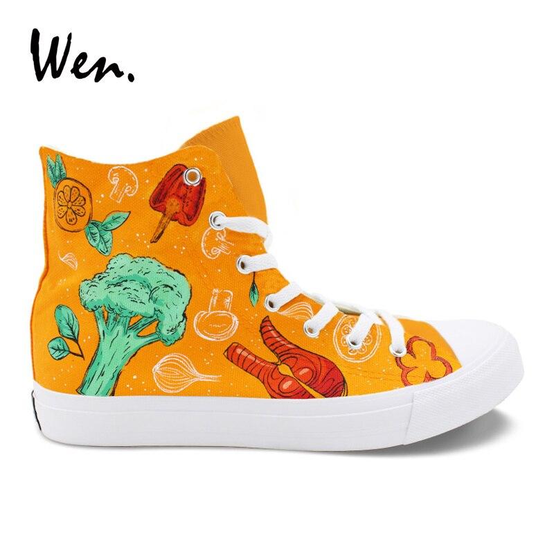Wen chaussures peintes à la main Orange conception de style occidental nourriture homard Pimento tomate personnalisé unisexe toile baskets montantes Flattie