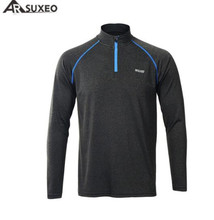ARSUXEO Mens Quick Dry Running Long Sleeve Shirt Jogging Fitness Gym Training Bike Cycling Jersey Outdoor T-Shirt Clothing