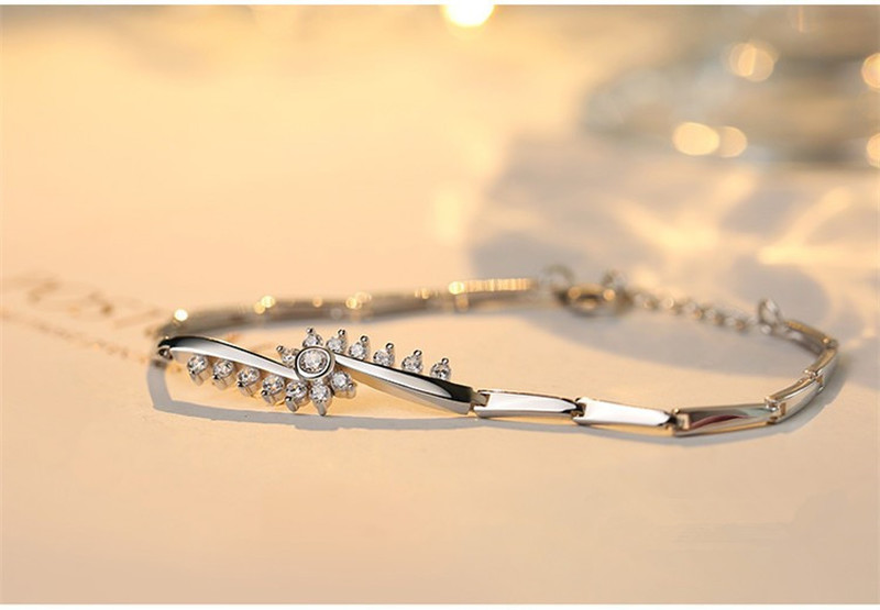 Everoyal Exquisite Zirocn Flower Girls Bracelets Jewelry Fashion Female 925 Sterling Silver Bracelets For Women Accessories Lady in Charm Bracelets from Jewelry Accessories