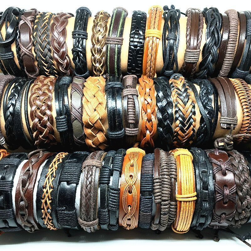 Image 5 - Wholesale 50pcs Leather bracelets and bangles for men women 