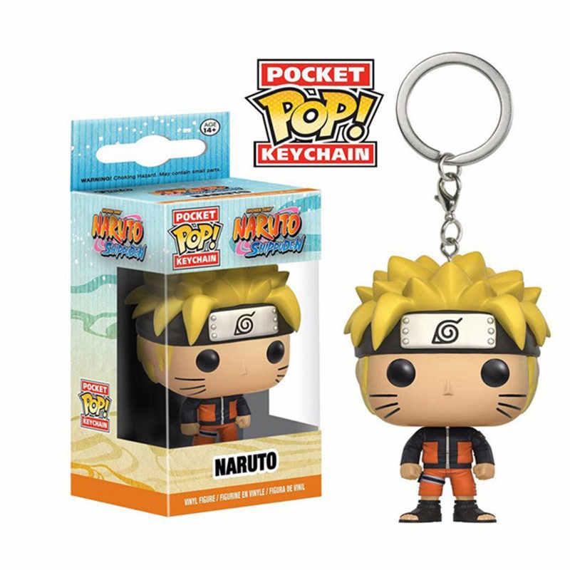 Funko POP Marvel Avengers Dragon Ball Jahat Naruto One Piece Chessur Saku Gantungan Kunci Figures, Mainan untuk Anak-anak Hadiah dengan Kotak