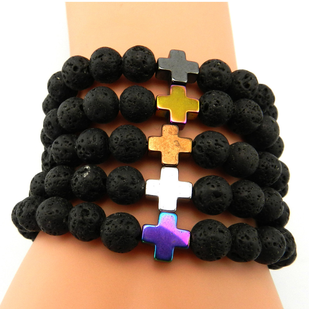 GVUSMIL 2017 New 8mm Natural Lava Stone Beaded Bracelet Men Hematite Gallstone Cross Bracelets Pulseras Hombre Yoga Jewelry