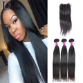 Brazilian Virgin Hair With Closure 3PCS Straight Hair with Lace Closure 7A Unprocessed Human Hair Weft Brazilian Straight hair