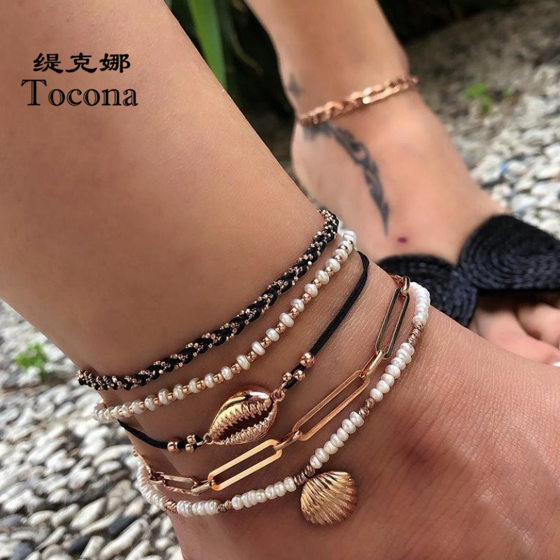 Tocona 5pcs/sets Summer Shell Scallop Beaded Anklets for Women Gold Color Fashion Chain Rope Jewelry Beach Accessories 8007