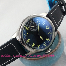 47mm Parnis black dial Special 9 MECHANICAL manual wind Watch eta asia 6497