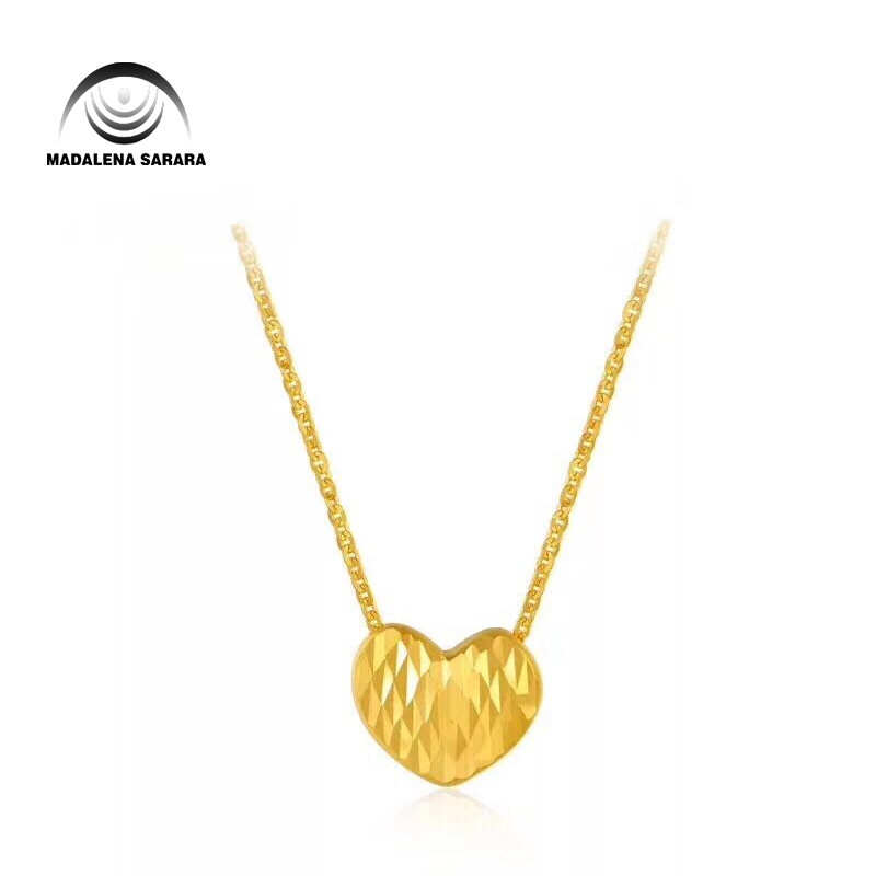 MADALENA SARARA Pure Gold Heart Pendant 18k Pure Gold Chain Necklace Small Clavicle Water Wave Necklace