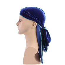 Men Long Tail Pirate Turban Fashion Luxury Velvet Durag Bandana Turban Hat Unisex Biker Headwear Solid Men Hair Accessories(China)
