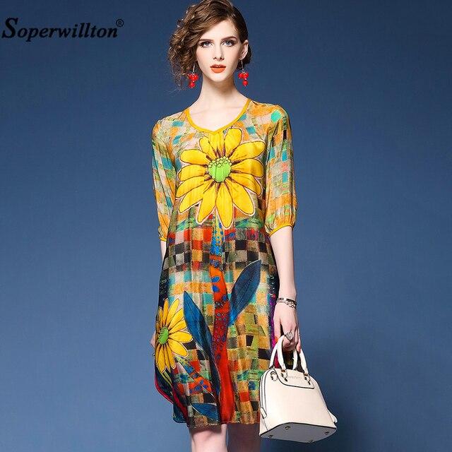 83bbd6574ec4 Women Summer Dress Office Lady Thin Chiffon Print Floral Dress O-Neck  Straight Half Sleeve Knee Length Dresses Elegant Vestidos