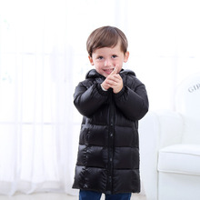 Ultra Light Girls Winter Warm Down Coat Baby Boys Warm Hooded Outerwear Toddler's Long Cotton Jacket Children Top Clothing