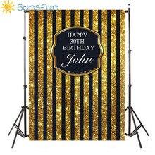 Sunsfun feliz aniversario fondo amarillo niños Fotografía globo de cumpleaños para bebé telones de fondo estudio personalizado Personal