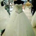2016 Venda Quente de Alta Qualidade Vestido de Casamento Branco Vestido Vestidos de Cristal de Luxo Do Vintage Cinto Plus Size vestido de Baile Frete Grátis