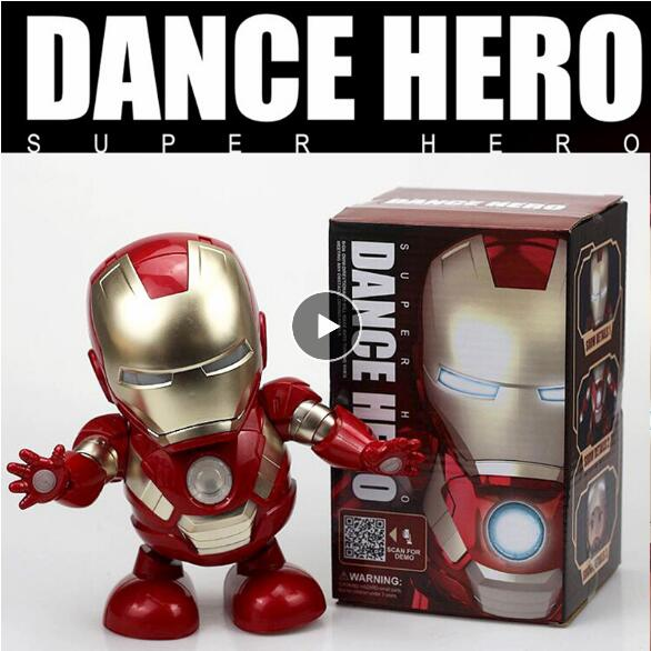 Flashlight Action-Figure-Toy Can-Dance-Iron Music-Robot Marvel Avengers Hero Iron Man