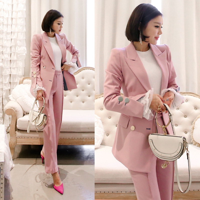 Women 39 s suit suit pants and suit High quality fabric pink double breasted slim suit jacket female Trousers set 2019 new in Pant Suits from Women 39 s Clothing