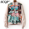3D Printed Bird And River  Bomber Jacket Long Sleeve Stand Collar Zipper Women Basic Coats New Brand Ladies Jacket For Women
