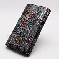 Brand Distressed Luxury Genuine Leather Women's Clutch Wallet Tri folding Cash Dollar Purse Rose Flower Engraved Card Holder